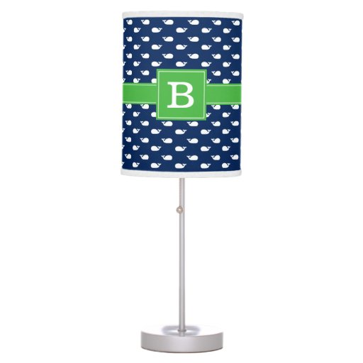 Blue and Green Whimsical Whales Pattern Monogram Desk Lamp