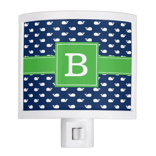 Blue and Green Whimsical Whales Pattern Monogram Night Light