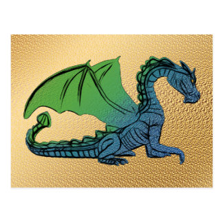 Blue And Green Winged Dragon Postcard