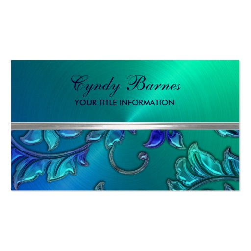 Blue and Green with Damask Business Card