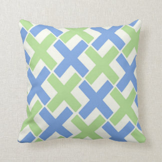 Blue and green Xs Throw Pillow