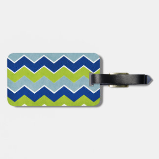 Blue and Green Zig Zag Pattern Tags For Luggage