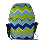 Blue and Green Zig Zag Pattern Messenger Bag