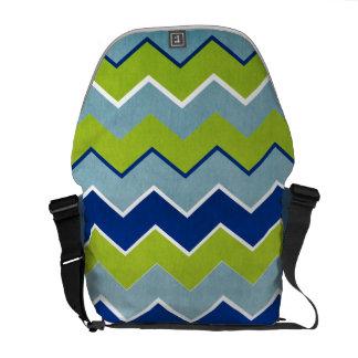 Blue and Green Zig Zag Pattern Messenger Bag