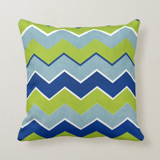 Blue and Green Zig Zag Pattern Throw Pillow