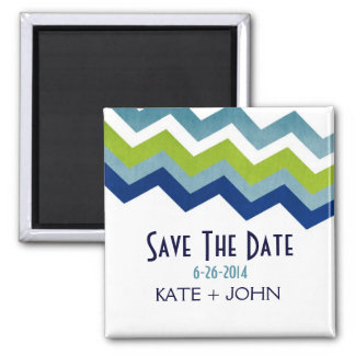 Blue and Green Zig Zag Save The Date 2 Inch Square Magnet