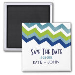 Blue and Green Zig Zag Save The Date Magnets