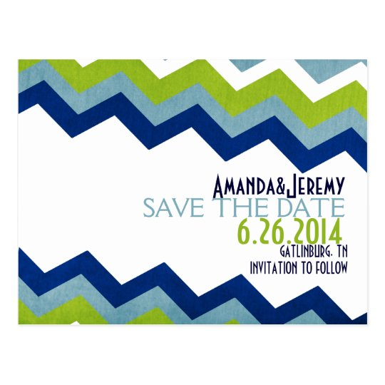Blue and Green Zig Zag Save The Date Postcard