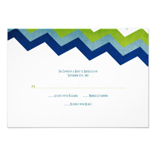 Blue and Green Zig Zag Wedding RSVP Personalized Announcements