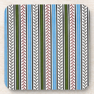 Blue and Green Zippers Beverage Coaster
