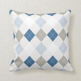Blue and Grey Argyle Throw Pillows