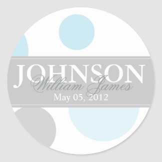 Blue and Grey Big Dots Sticker Round Sticker