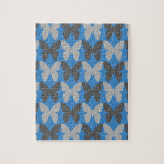 Blue and grey butterfly pattern jigsaw puzzle