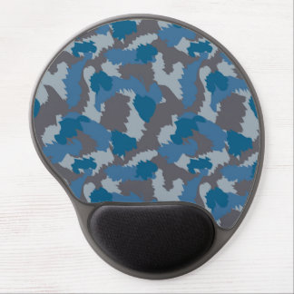 Blue and Grey Camouflage Gel Mouse Pad