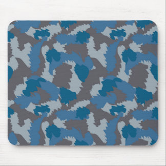 Blue and Grey Camouflage Mouse Pad