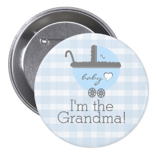 Blue and Grey Carriage Gingham Baby Shower Grandma 3 Inch Round Button