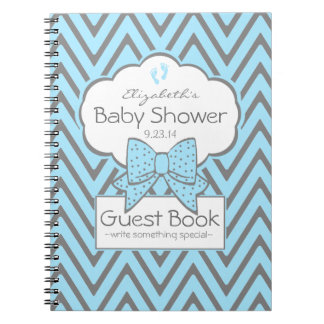 Blue and Grey Chevron- Baby Shower Guest Book- Spiral Notebooks