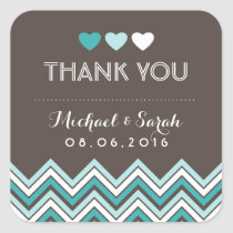 Blue and Grey Chevron Pattern Thank You Sticker