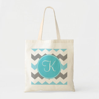 Blue and Grey Chevron with Blue Monogram Budget Tote Bag