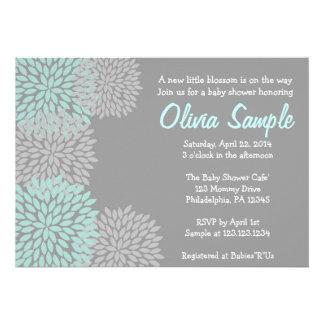 Blue and Grey Dahlia Baby Shower Invitation