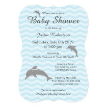 Blue and grey dolphin baby shower invitations
