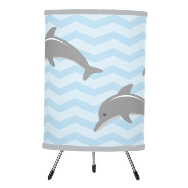 Beach Themed Blue and grey dolphin chevron pattern nursery lamp