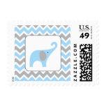 Blue and Grey elephant boy baby shower postage