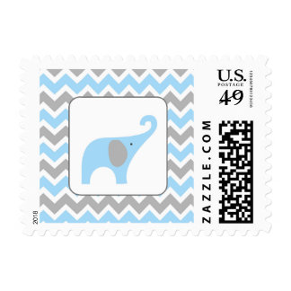 Blue and Grey elephant boy baby shower postage