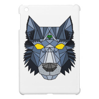 Blue and Grey Geometric Wolf Design Cover For The iPad Mini