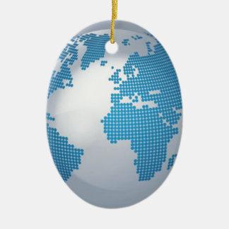 Blue and Grey Globe Ceramic Ornament
