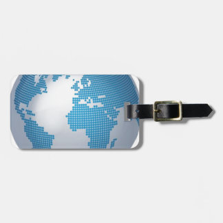 Blue and Grey Globe Luggage Tags