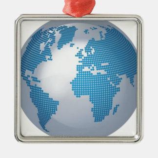 Blue and Grey Globe Metal Ornament