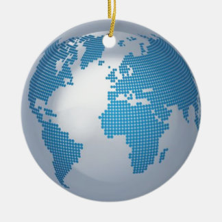 Blue and Grey Globe Double-Sided Ceramic Round Christmas Ornament