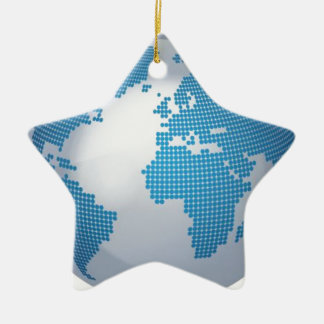 Blue and Grey Globe Double-Sided Star Ceramic Christmas Ornament