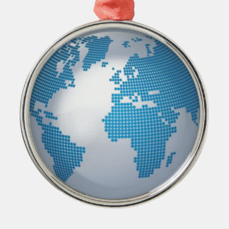 Blue and Grey Globe Round Metal Christmas Ornament