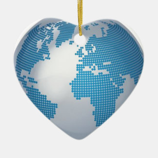Blue and Grey Globe Double-Sided Heart Ceramic Christmas Ornament