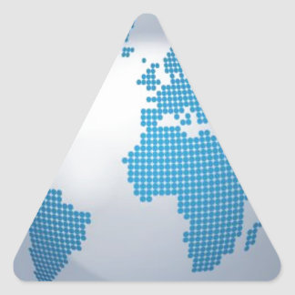 Blue and Grey Globe Triangle Sticker