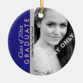Blue and Grey Graduation Photo Ceramic Ornament
