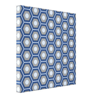Blue and Grey Hex Tiled Canvas