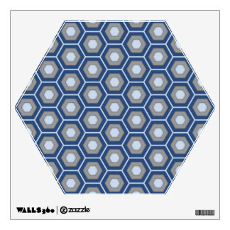 Blue and Grey Hex Tiled Wall Decal