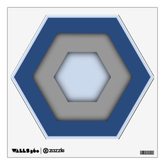 Blue and Grey Hex Wall Decal