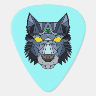 Blue and Grey hipster Geometric Wolf guitar pick
