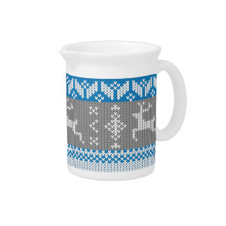 Blue and Grey Norwegian Alpine Deer Pattern Beverage Pitchers