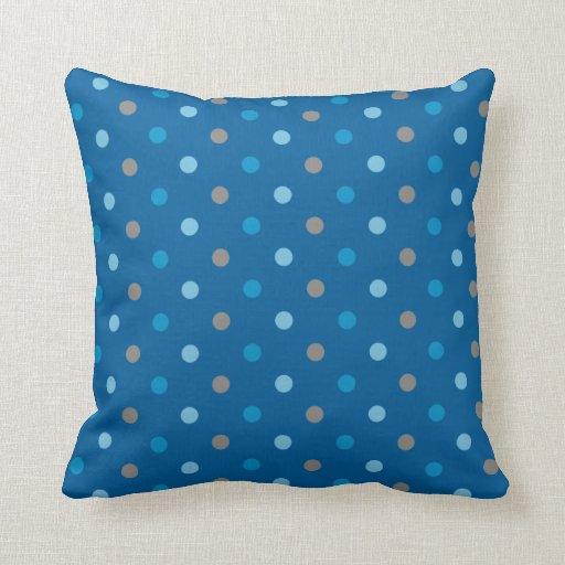 blue and grey polka dot throw pillow zazzle. Black Bedroom Furniture Sets. Home Design Ideas