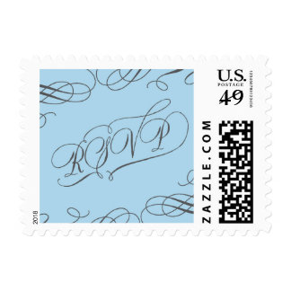 Blue and Grey RSVP with swirls Postage