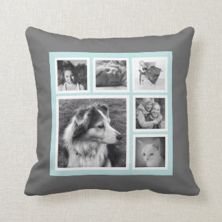 Blue and Grey Six Instagram Photo Collage Throw Pillow