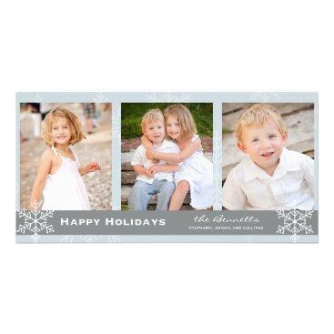 Christmas Themed Blue and Grey Snowflake Holiday Card
