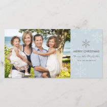 Blue and Grey Snowflake Holiday Card