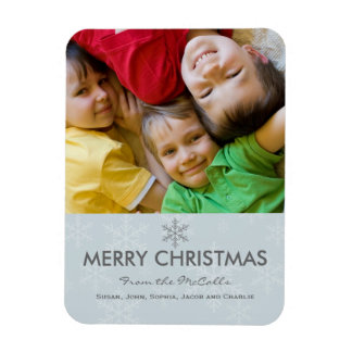Blue and Grey Snowflake Holiday Rectangular Photo Magnet