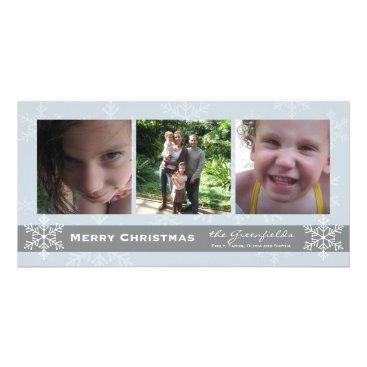 Christmas Themed Blue and Grey Snowflake Merry Christmas card